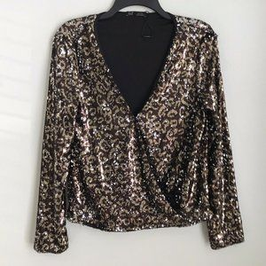 Zara TRF Collection Brown Animal Print Sequin Top